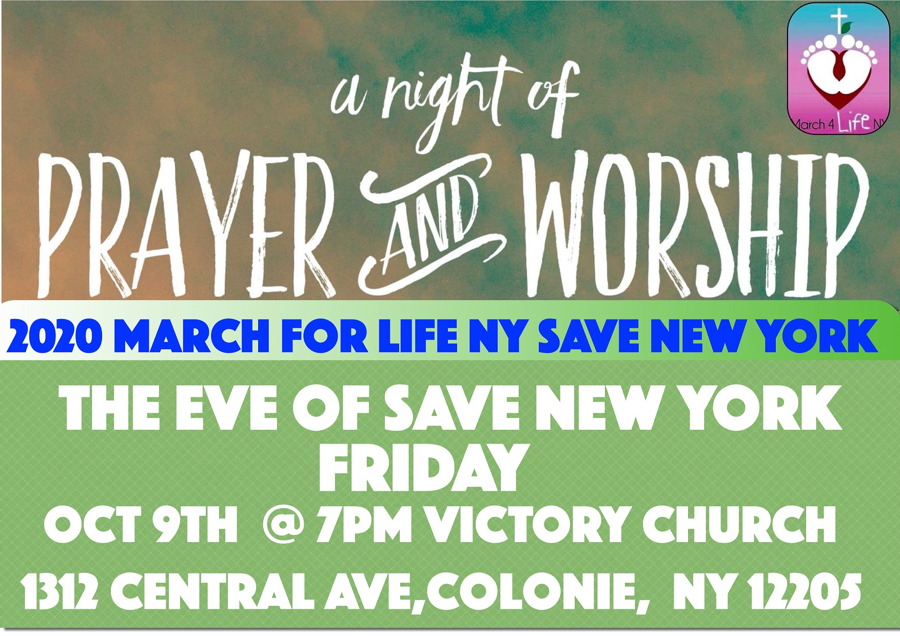 A Night of Prayer and Worship, October 9th, 7PM